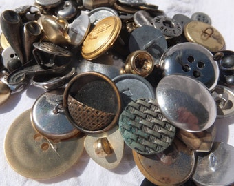 Fancy Metal Buttons/Plastic Metal Look Buttons-assemblage, altered art, mixed media, craft project