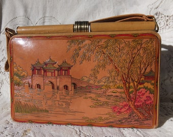 Beautiful Hand Tooled and Painted Leather Japanese Purse/Pocketbook/Hand Bag