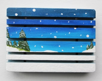 Hand painted soap dish, winter soap dish, decorative soap dish, winter scene painting, acrylic painting, snow painting, winter decor