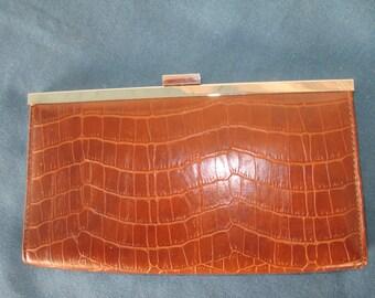 Vintage Brown Alligator Leather Look Clutch Vintage Handbags Bags Purses Women Accessories