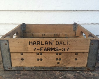 wooden milk crate ~ Harlan Dalf. ~ carried 20 milk bottles ~ industrial wooden crate ~ wooden box ~ rustic wood box ~ farmhouse antique