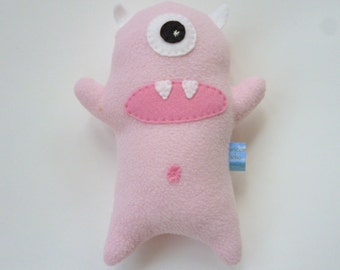 READY TO SHIP Pale Pink Plush Monster, Stuffed Monster, Soft Doll Toy, Little Girl Stuffie