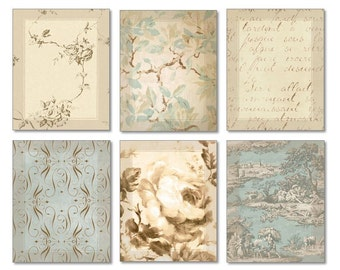 Aqua Blue and Brown Art Set of 6 Prints Shabby Chic Wall Art