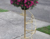 Antique Solid Iron, Spiral Plant Display, Beautiful Stand, Hollywood Regency Gold, Gorgeous Display for Holidays or Every Day,