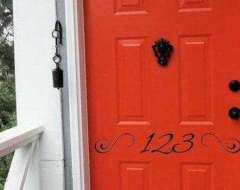 House Numbers Vinyl Door Decal, Front Door Decals, Fancy House Numbers, Vinyl House Numbers, Front Door Decal, Door Decor, Entryway Decals