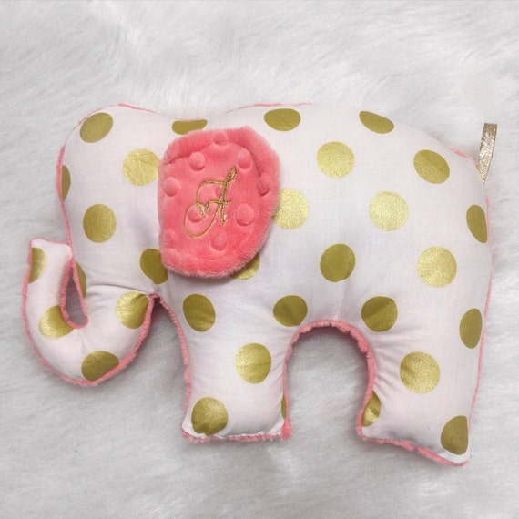Marion S Coral And Gold Polka Dot Nursery: Coral Gold Stuffed Elephant Toy Doll Gold Polka Dots Coral