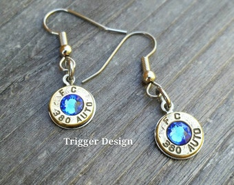 Simple 380 Caliber Dangle Bullet  Casing Earrings- Dark Blue