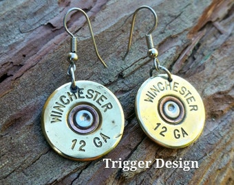 Brass 12 Gauge Shotgun Dangle Earrings