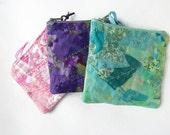 Coin purse in textile art fabric zipper pouch change purse card holder