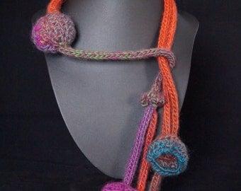 Artisan, sculptural, feminine, edgy , playful neck adornment (Baubles,cones, multicoloured)