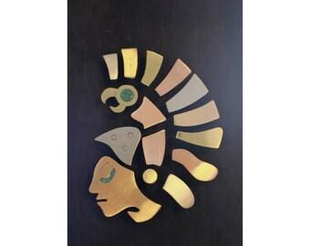Aztec Mayan Warrior Folk Art - Mexico Mixed Metal Wall Hanging