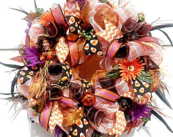 Halloween Wreaths for Front Door, Witch Wreath, Halloween Wreaths, Halloween Door Wreaths, Halloween Door Decoration