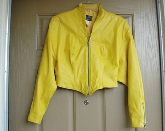 Vintage size small yellow Tannery West cropped leather jacket 90s 1990s 80s 1980s