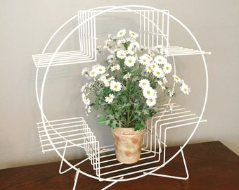 Mid-century Metal Plant Stand Circular White Metal Plant Stand