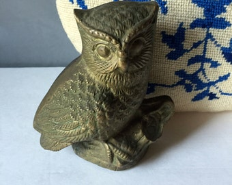 REDUCED.........Vintage Brass Owl Sitting on a Branch