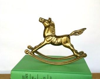 Vintage Solid Brass Rocking Horse