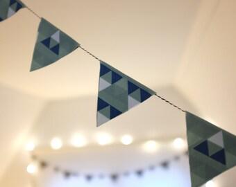 Custom made fabric triangle garland