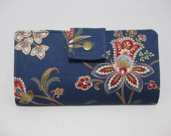Womens Wallet, Blue Floral Wallet, Clutch Wallet