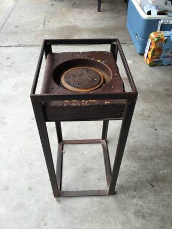 Urban Industrial End Table-Made w/Antique Drive Wheel-Jacquard Loom