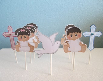 Baptism cupcake toppers,First Communion Decorations,Christening Decor,Cupcake toppers,Religious ceremony,Baptism party,Baptism Decorations