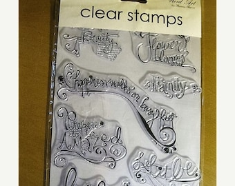 """On Sale Autumn Leaves Clear Stamps, Set of 8 """"Word Art"""" Themed Clear Acrylic Stamps: love, let it be, family, happiness, prepare to be amaze"""