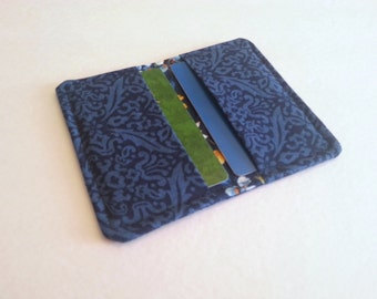 Blue Fabric Gift Card Holder / Small Fabric Wallet / Fabric Card Carrier
