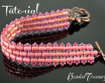 47th Parallel - beading pattern with Rulla beads, beaded bracelet pattern / TUTORIAL ONLY