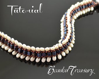 """Beading tutorial, bead pattern, beaded bracelet pattern with SuperUno / Solo, cube and seed beads. """"Dragon Crest"""" / BEADING TUTORIAL ONLY"""