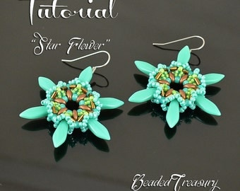 "Beading tutorial, earring bead pattern, superduo bead pattern, dagger, bugle, seed beads. ""Star Flower"" / TUTORIAL ONLY"