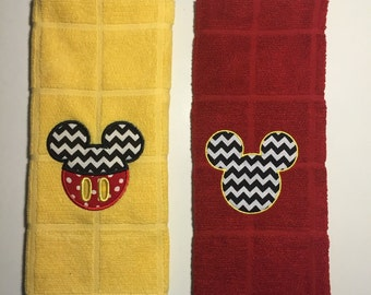 Mickey Mouse Kitchen Towel - Set of 2. Red & Yellow