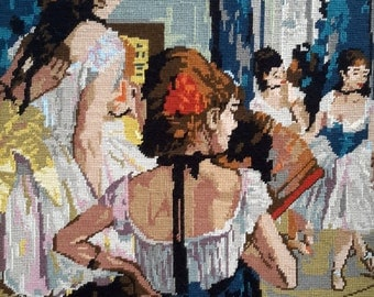 The Dancing Lesson by Degas -vintage hand stitched needlepoint tapestry ideal for wall/cushion/pillow/bag/stool/chair cover