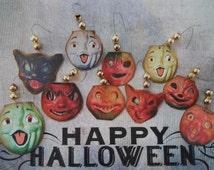 Vintage Inspired Halloween Ornaments, Paper Mache Pumpkins, Cats,Mercury Glass Bead ornaments, Halloween Tags, Tinsel Tree Ornaments, SET P