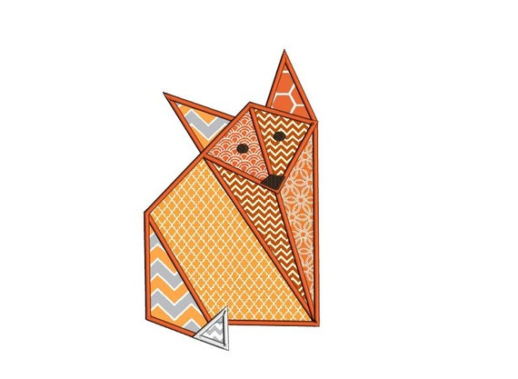 Items similar to origami fox applique design woodland - Applique origami ...