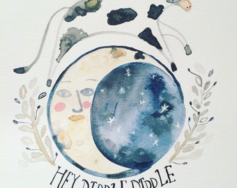 Hey Diddle Diddle- giclee Print of an original illustration By Heidi Griffiths.