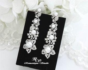Bridal pearl earrings vintage style pearl drop earrings long earrings white pearl wedding jewelry bridesmaid earrings  1338