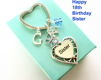 18th birthday gift for Sister - Personalised Sister keyring - Butterfly keyring - Gift for Sister - 18th keyring - Sister birthday - UK