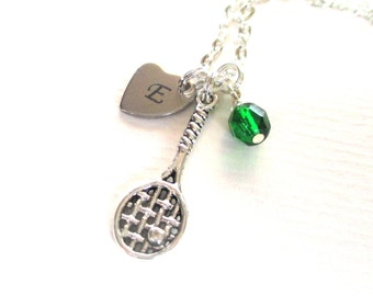 Mother's Day gift - Initial necklace -  Mum gift - Tennis player gift - Tennis racket necklace - Birthstone necklace - Gift for mum - UK