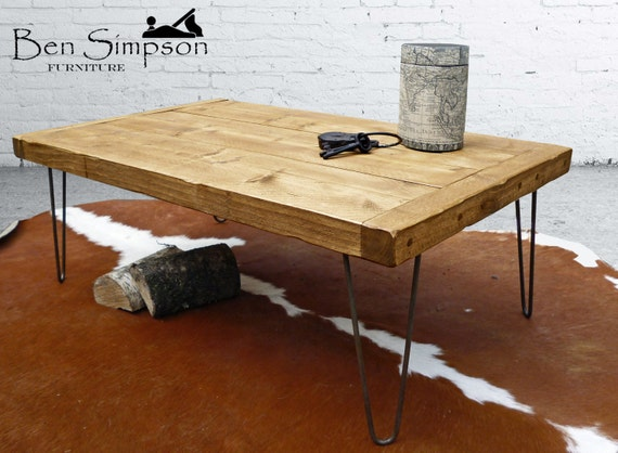 Rustic Coffee Table Solid Wood Industrial Metal Hairpin Legs