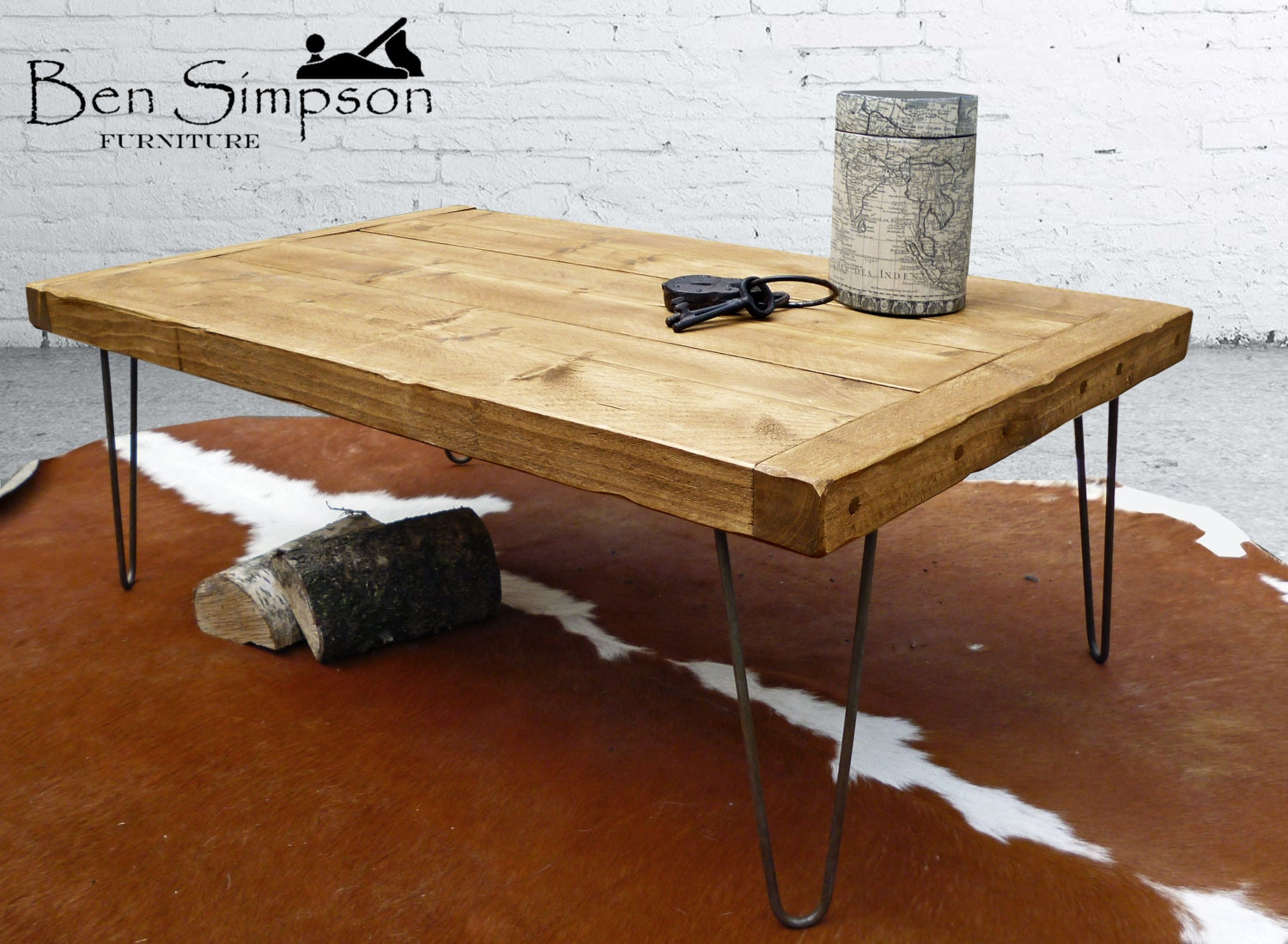 rustic coffee table solid wood industrial metal hairpin legs. Black Bedroom Furniture Sets. Home Design Ideas