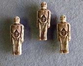 "3 Pieces Ceramic Skeleton Beads, 1-1/4"" High, Full Body Skeleton"