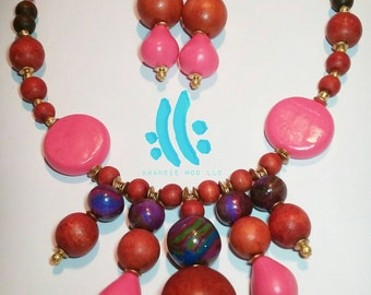 Wood and Clay Pursuit Necklace and earring set