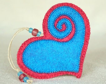 Beaded Pink and Blue Wool Felt Heart Ornament #4,  Mother's Day Heart, Wedding Favor, Proposal Idea, Anniversary Gift *Ready to ship