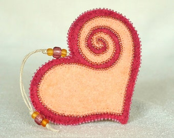 Beaded Pink and Peach Wool Felt Heart Ornament #4, Mother's Day Heart, Wedding Favor, Proposal Idea, Anniversary Gift *Ready to ship