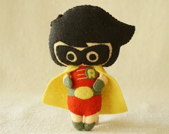 Felt Robin Doll, Wool Felt Superhero Doll, Wool Felt Art Doll, Handmade Collectible Doll, Gift for Kids *Ready to Ship