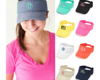 Monogrammed Visor Personalized Womens Adult Hat Baseball Cap Beach Sports Name Embroidered Pink Yellow White Black Navy Blue Coral Black