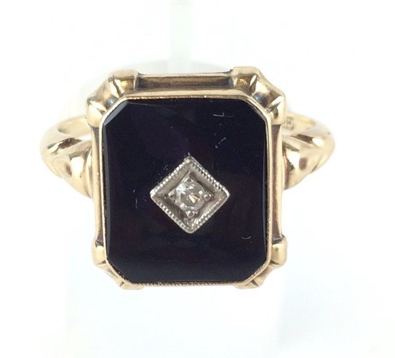 antique black onyx ring vintage deco 10k yellow