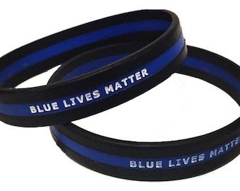 Blue Lives Matter Thin Blue Line Wristband SKU: WB17-0001