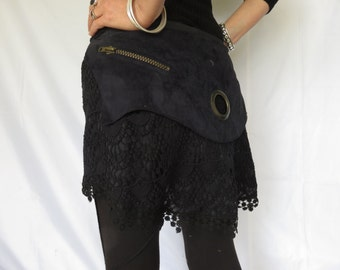 Mini skirt in black false suede and lace  - Psytrance Hippie Steampunk Style