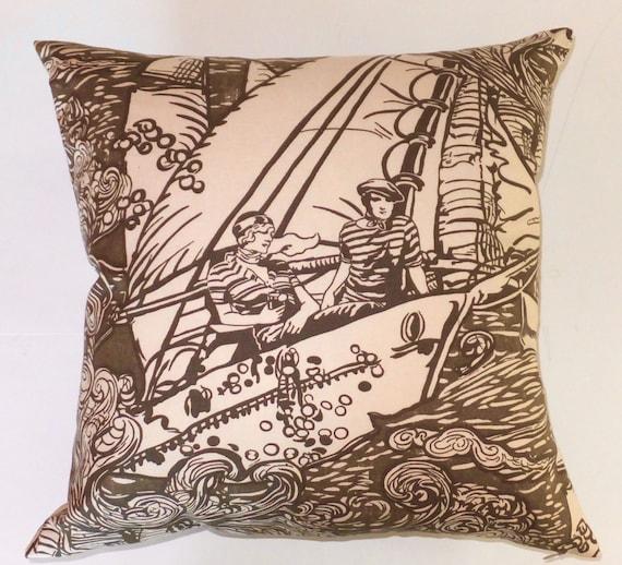 Ralph Lauren Throw Pillow Covers : Ralph Lauren Nautical Couple Throw Pillow Cover 20x20 Handmade