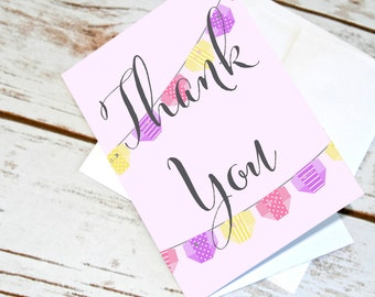 Baby Shower Thank You Cards. Baby Thank Yous for Baby Girl. Diaper Garland Design. Pink Purple Yellow